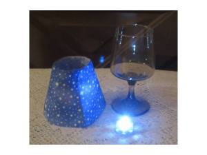 Wine glass, battery tea light and a shade